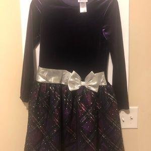 Girls formal velvet purple dress